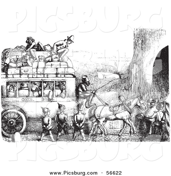 Clip Art of an Old Fashioned Vintage Soldiers Stopping an Omnibus in Black and White