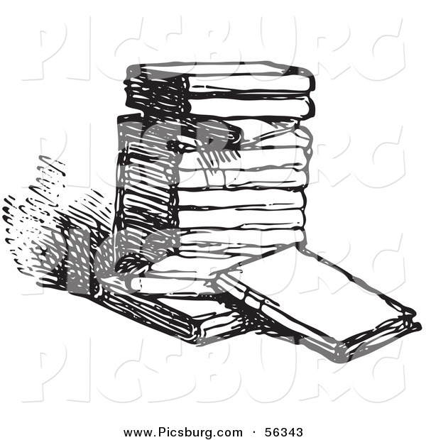 Clip Art of an Old Fashioned Vintage Stack of Books in Black and White