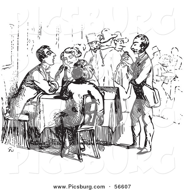 Clip Art of an Old Fashioned Vintage Waiter Tending to Tired Travelers in Black and White