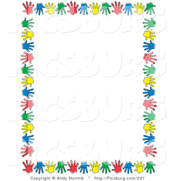 Clip Art of Colorful Hand Prints Forming a Border