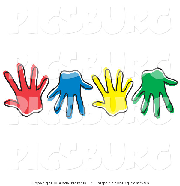 Clip Art of Diverse Colorful Hand Prints