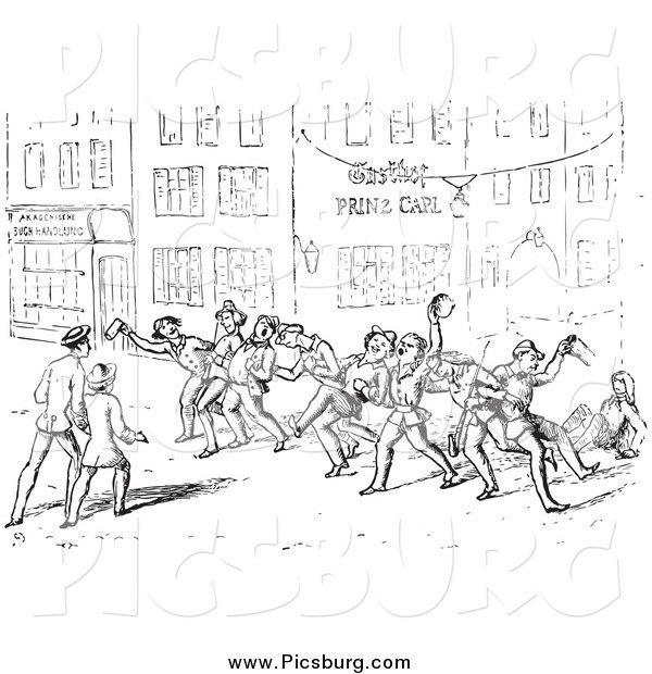 Clip Art of Drunk Men on a Vintage Street in Black and White