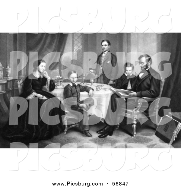 Clip Art of Family Portrait of Willie, Robert, Tad, Mr and Mrs Abraham Lincoln Sitting Around a Table in 1861