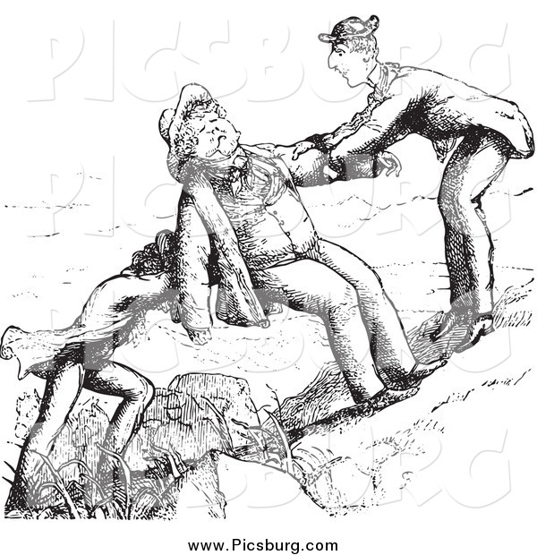 Clip Art of Friends Assisting a Man up a Hill in Black and White