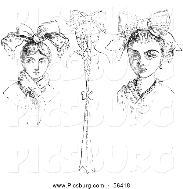 Clip Art of Girls with Peasant Headdresses in Black and White