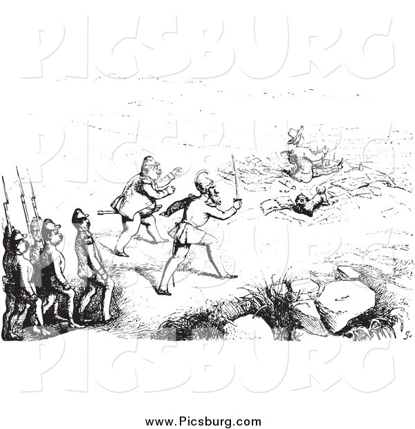 Clip Art of Guards Approaching an Artist, in Black and White