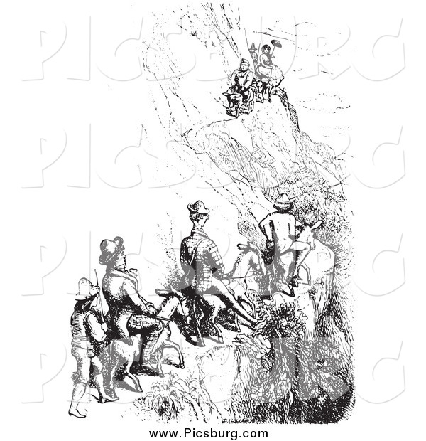 Clip Art of Men Riding Mules on a Cliff Side, Black and White