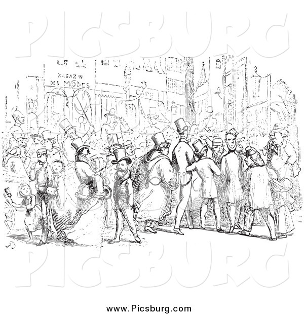 Clip Art of People in a Street in Black and White