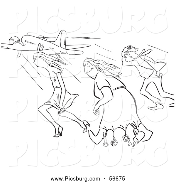 Clip Art of Retro Vintage Creative Woman and Two Others in Strong Winds at the Airport in Black and White - Coloring Page Outline