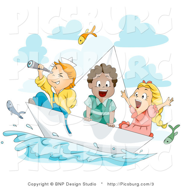Clip Art of Sailor Kids on a Paper Sailboat