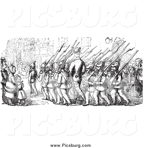 Clip Art of Street Scene of People Watching Marching Soldiers in Black and White