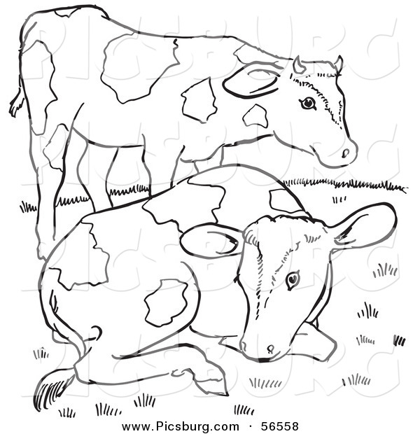 Clip Art of Two Farm Cows on a Hill - Black and White Line Art