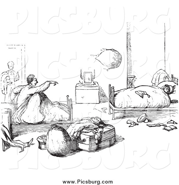 Clip Art of Vintage Hotel Guests Waking up in Black and White