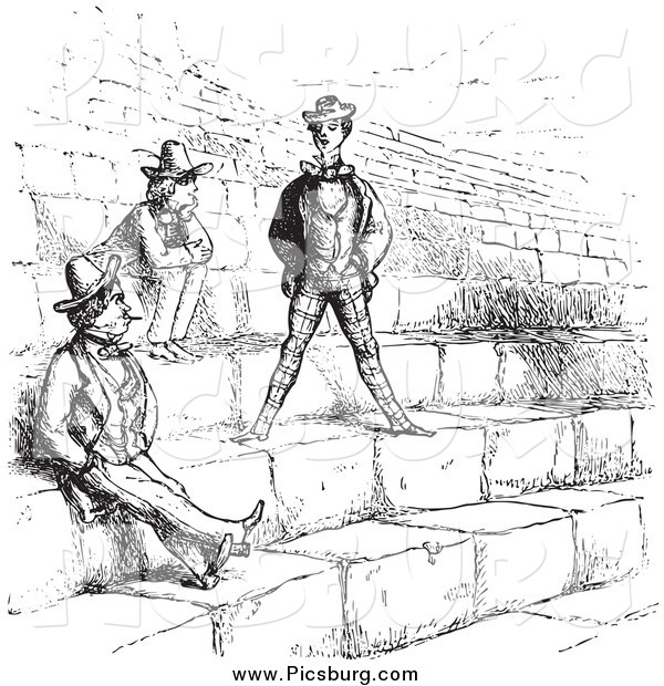 Clip Art of Vintage Men in the Amphitheatre in Verona in Black and White