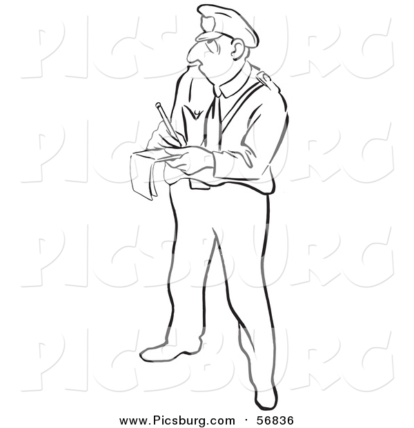 Vector Clip Art of a Black and White Lineart Police Officer Writing a Ticket