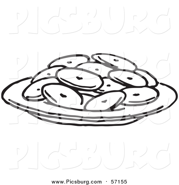 Vector Clip Art of a Black and White Plate of Cookies