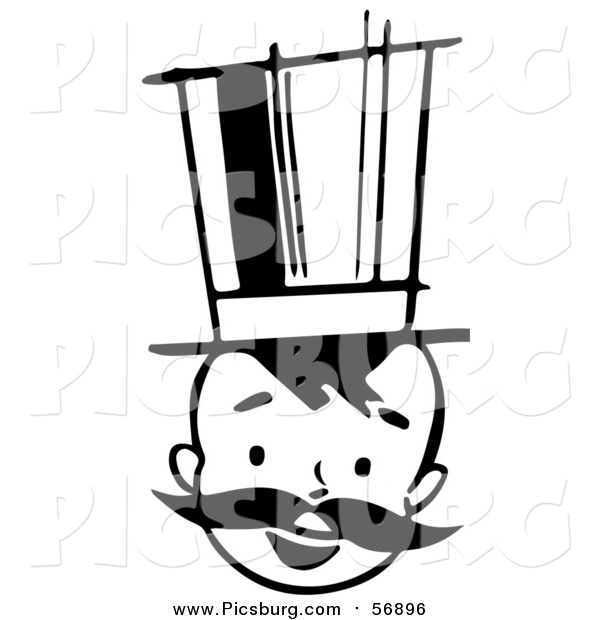Vector Clip Art of a Black and White Retro Boy with a Mustache and Top Hat