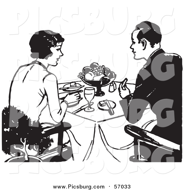 Vector Clip Art of a Black and White Retro Couple Dining