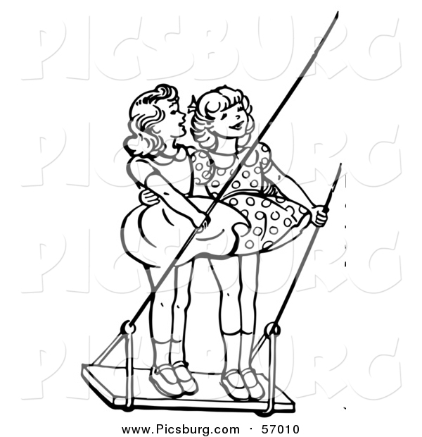 Vector Clip Art of a Black and White Retro Girls Standing on a Swing