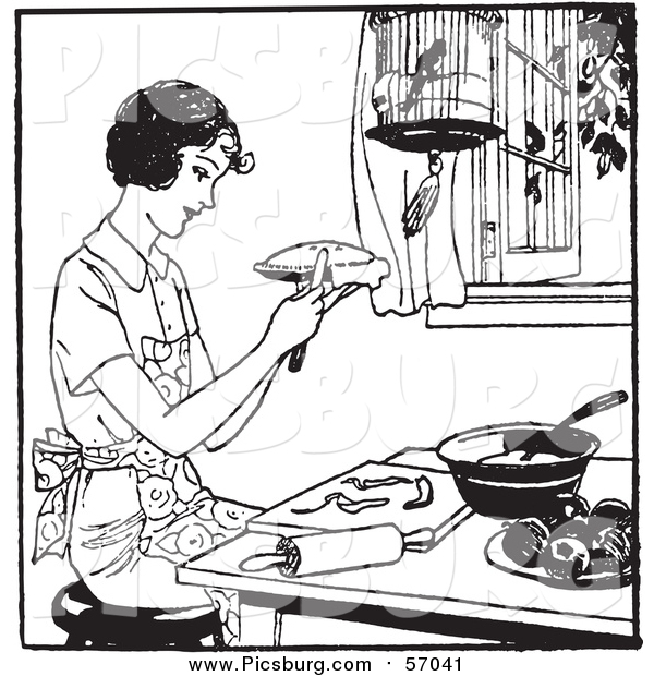 Vector Clip Art of a Black and White Retro Lady Making Apple Pie