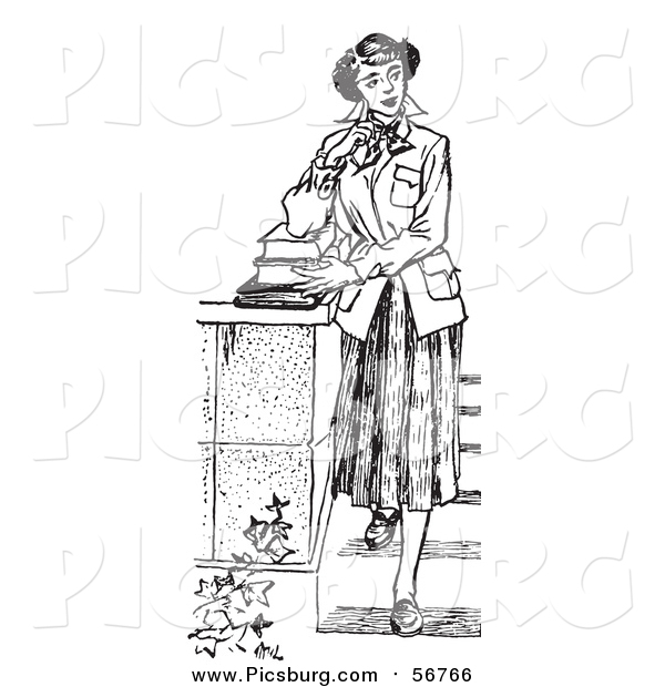 Vector Clip Art of a Black and White Retro Teenage Girl Standing with Books on Steps