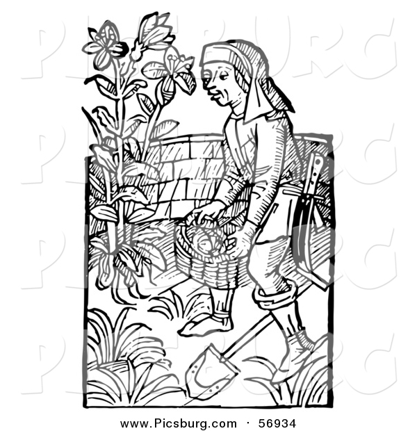 Vector Clip Art of a Black and White Retro Woodcut Medieval Man Carrying a Basket in a Garden