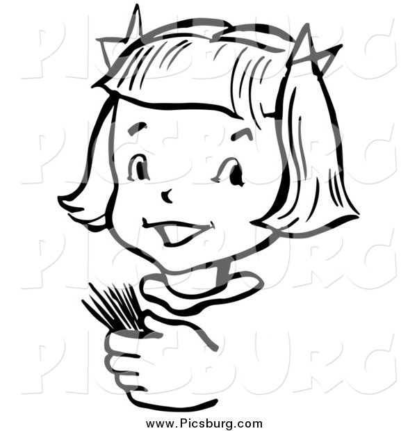 Vector Clip Art of a Happy Retro Black and White Girl Holding Toothpicks