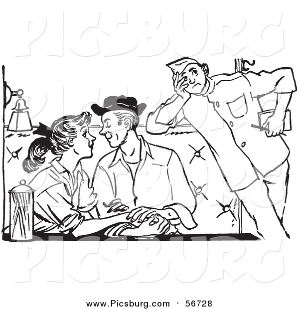 Vector Clip Art of a Retro Annoyed Chaperone Watching a Teenage Couple Swooning at a Diner