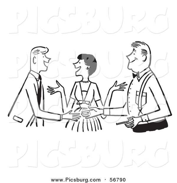 Vector Clip Art of a Retro Black and White Lady Politely Introducing Two Men