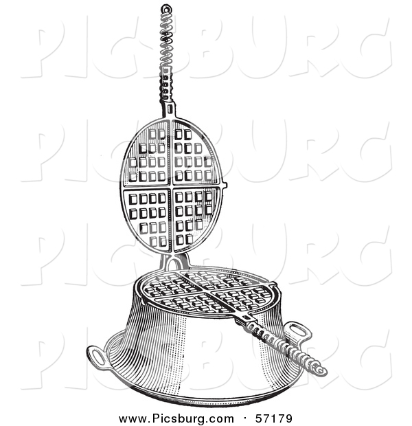 Vector Clip Art of a Retro Gas Range Waffle Griddle in Black and White