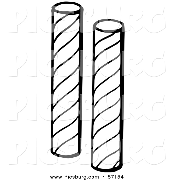 Vector Clip Art of Black and White Stick Candy
