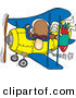 Clip Art of a Bomber Man in a Biplane Preparing to Drop a Bomb down onto the Ground by Toonaday