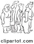 Vector Clip Art of Black and White Lineart Grumpy People in Line by Picsburg